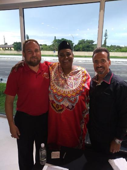 Left to Right - Jonathan Frank, Dr. Khalilah Camacho-Ali and Frank Barbatos June 2020 at The New Auto Toy Store Luxury Chamber and Republican Magazine Event