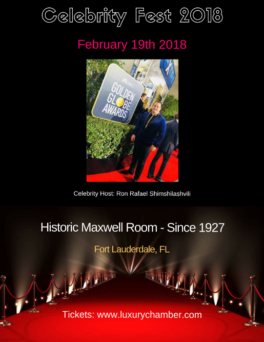 celebrity fest 2018 February Fort Lauderdale at Historic Maxwell Room.  Thank you RC!!!