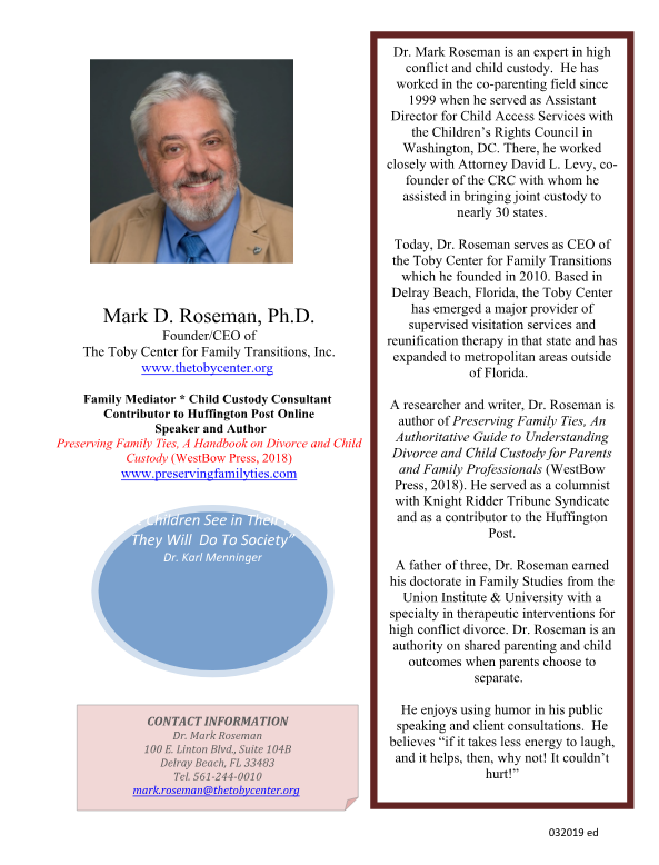 Dr. Mark D. Roseman magazine article, The Toby Center for Family Transitions