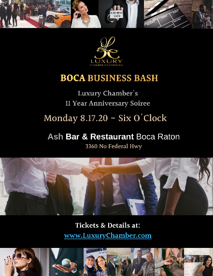Boca Business Bash 2020 - August 17th at Ash Lounge in Boca Raton, FL