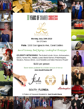 10 years of shared success - Luxury Chamber 10 year anniversary soiree with Just Breathe Miami at Fila Coral Gables