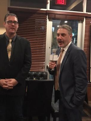 Jay Shapiro and Craig Pierson speaking at a Luxury Chamber of Commerce and Unicorn Childrens Foundation Networking Event, Temper Grille in Boca Raton, FL