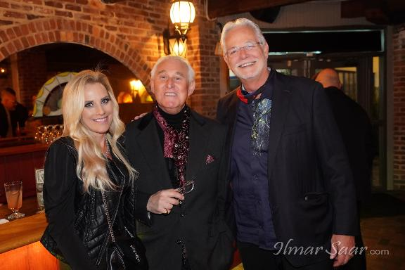 Karyn Turk, Roger Stone and John Patrick Contini at a Luxury Chamber of Commerce event - the Maxwell Room January 2021