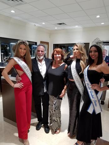 yaacov heller and beauty pageant winners at Luxury Chamber of Commerce event in Boca Raton, FL - South Florida Chapter